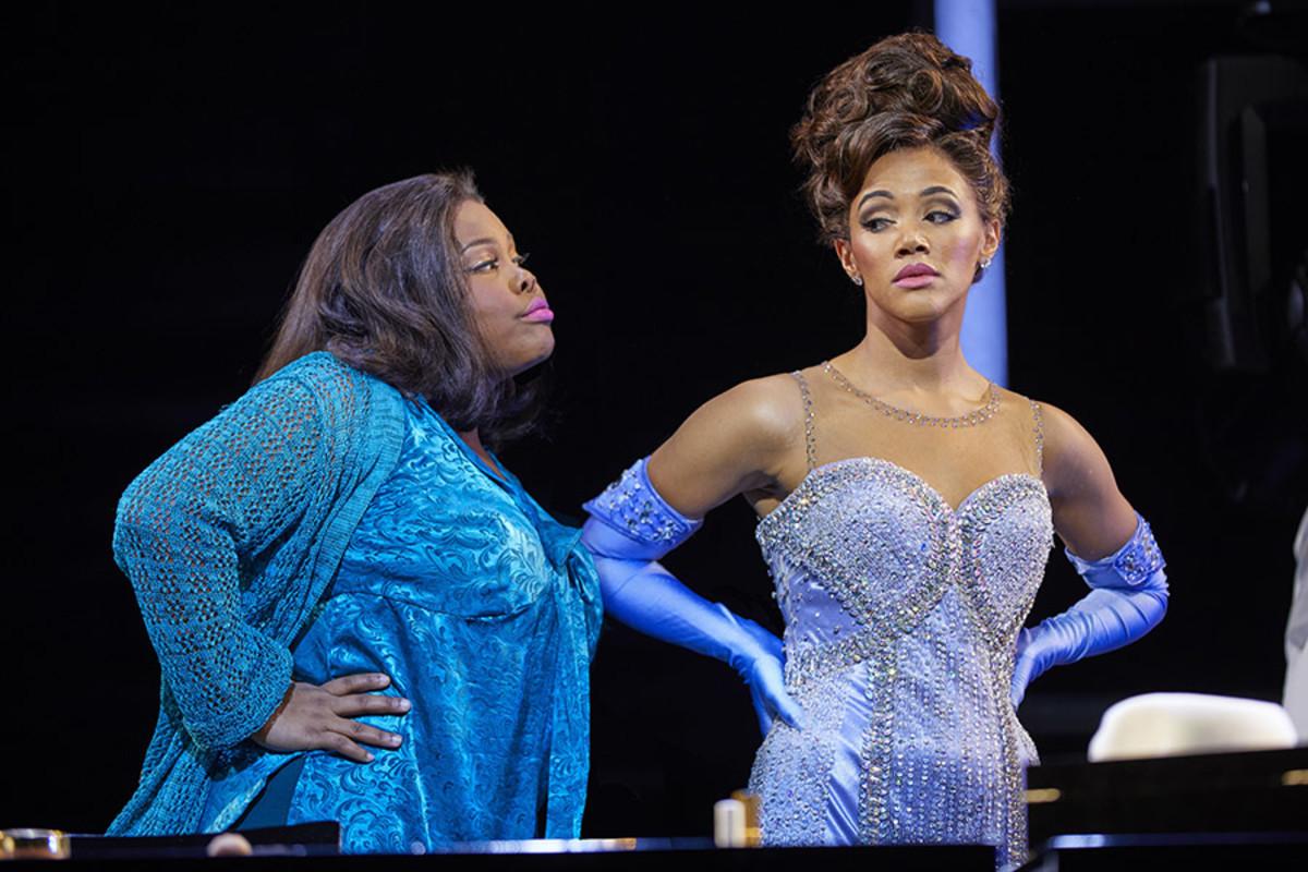 Amber Riley and Lily Frazer in Dreamgirls at the Savoy Theatre (Photo: Brinkhoff/Mögenburg)
