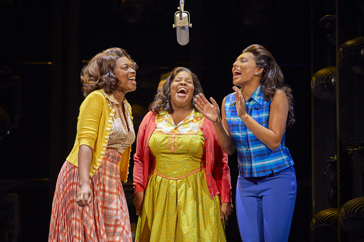 Ibinabo Jack, Amber Riley and Liisi LaFontaine in Dreamgirls at the Savoy Theatre (Photo: Brinkhoff/Mögenburg)