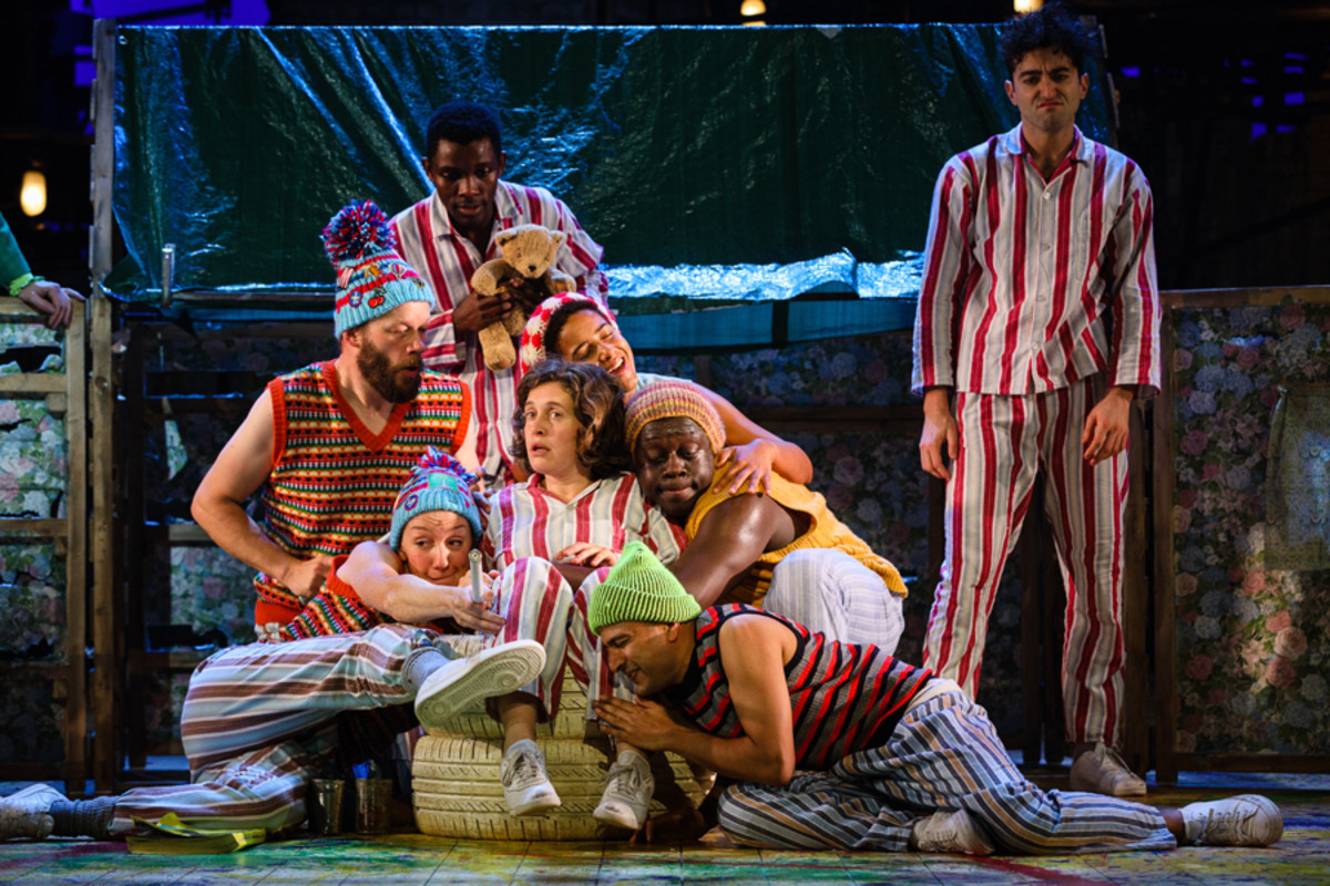 Wendy (Madeleine Worrall) and the lost boys in Peter Pan (Photo Steve Tanner)