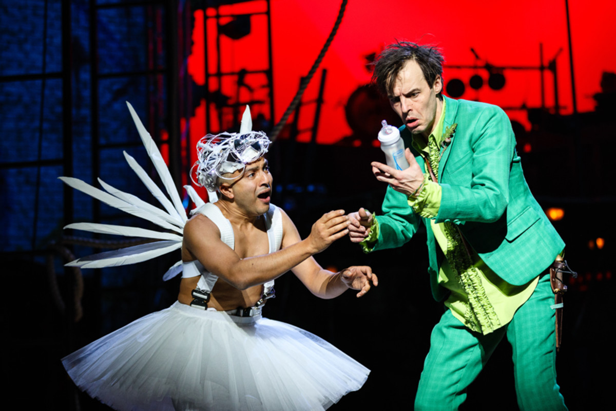 Tinker Bell (Saikat Ahamed) and Peter Pan (Paul Hilton) in Peter Pan (Photo Steve Tanner)