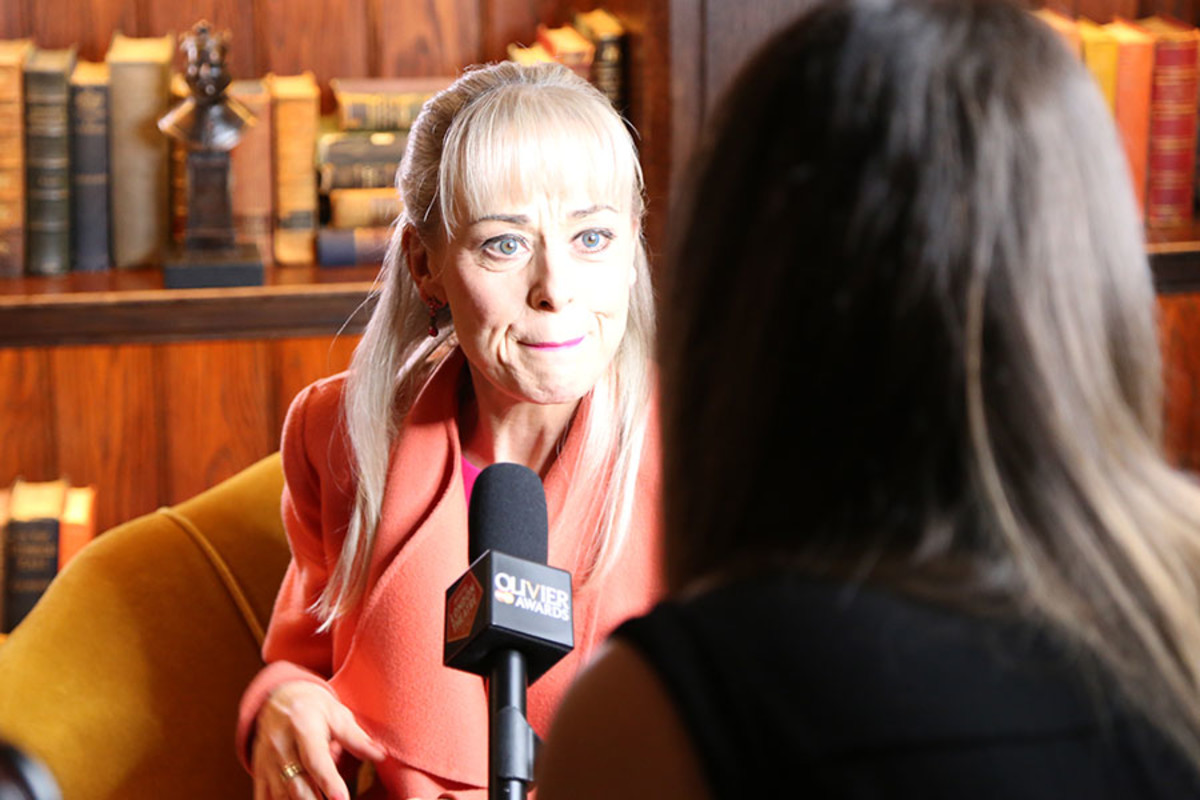 Best Actress in a Musical nominee Tracie Bennett being interviewed at the Olivier Awards 2016 with MasterCard nominees' celebration