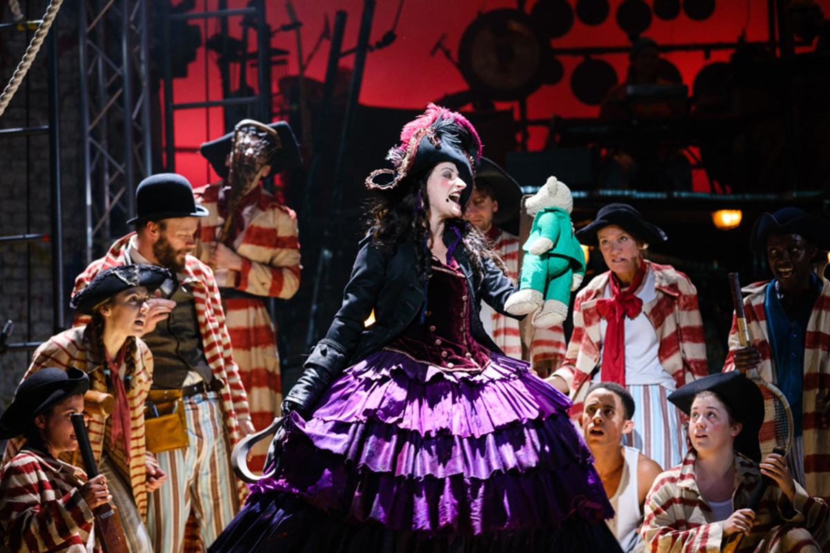Captain Hook (Anna Francolini) and pirates in Peter Pan (Photo Steve Tanner)