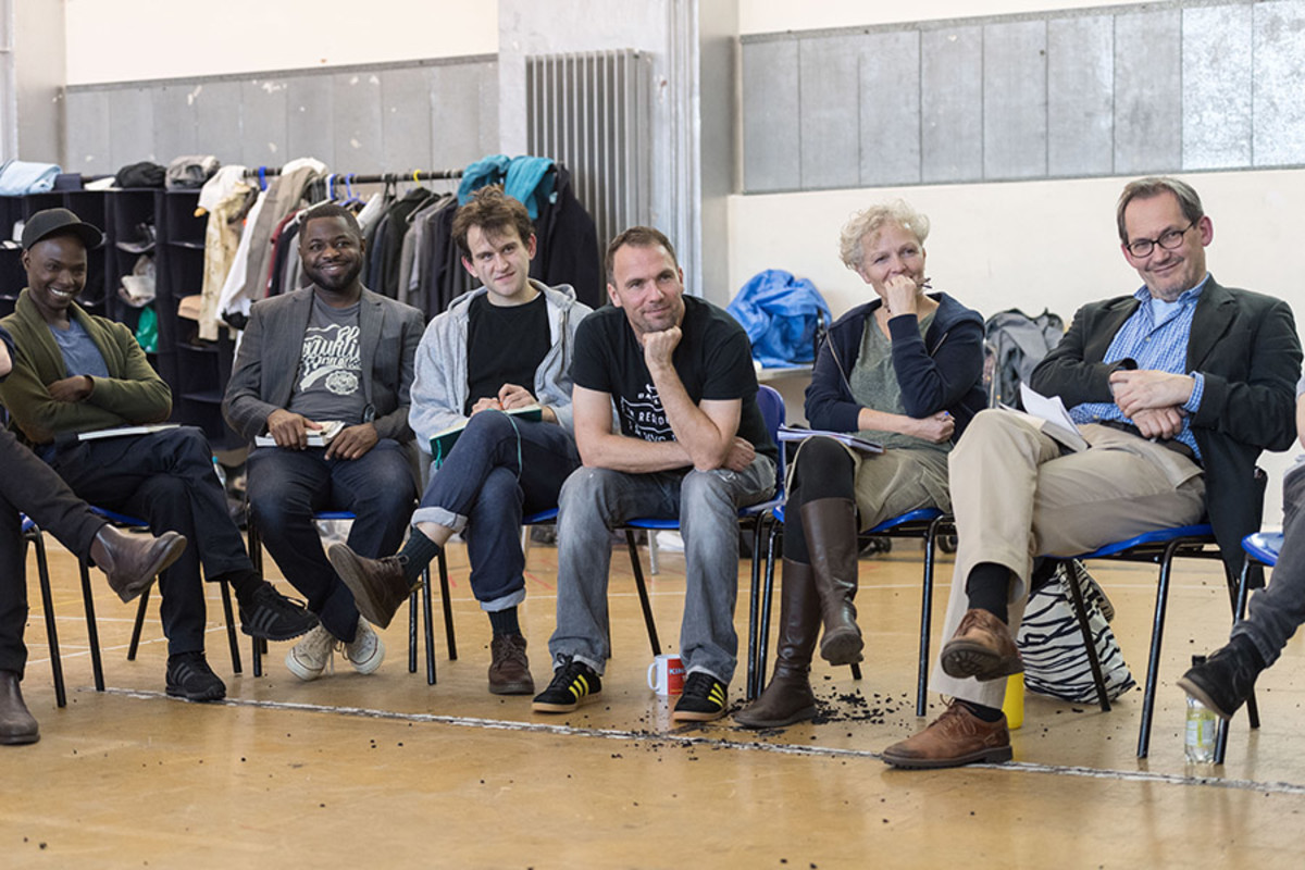 Fiston Barek, Fehinti Balogun, Harry Melling, Mark Rose, Joanne Howarth and Jonathan Coote in rehearsal for King Lear at The Old Vic (Photo: Manuel Harlan)