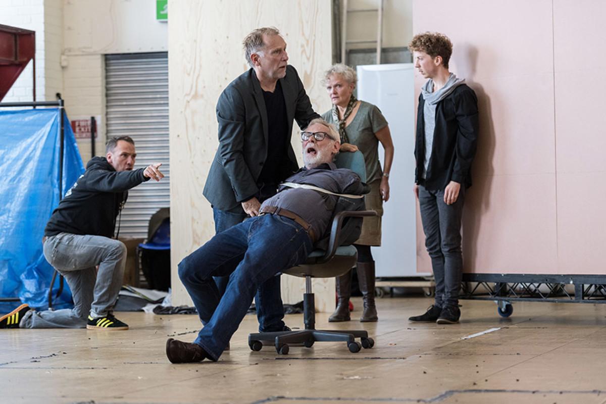 Danny Webb, Karl Johnson, Joanna Howarth and Matt Gavan in rehearsal for King Lear at The Old Vic (Photo: Manuel Harlan)