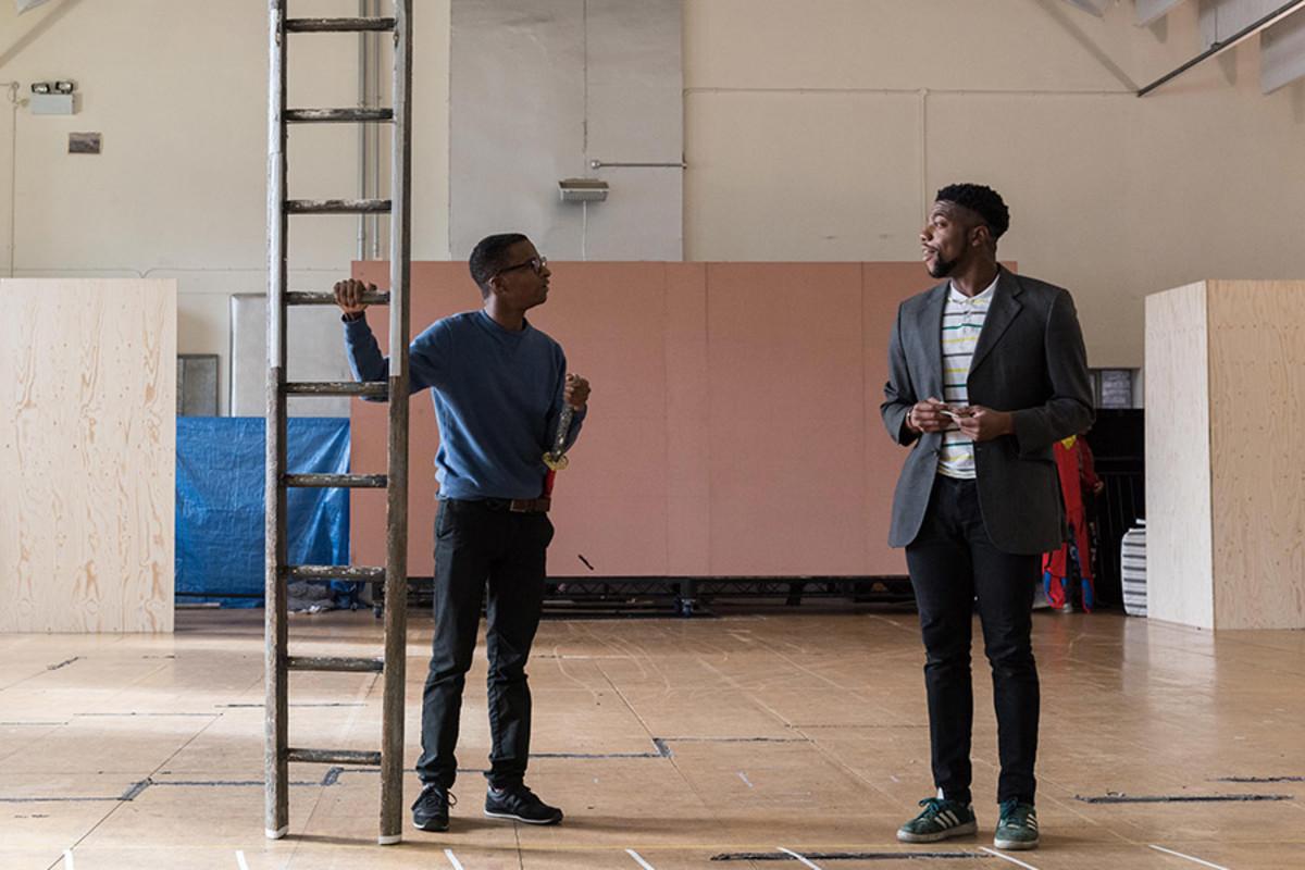Simon Manyonda and Fehinti Balogun in rehearsal for King Lear at The Old Vic (Photo: Manuel Harlan)