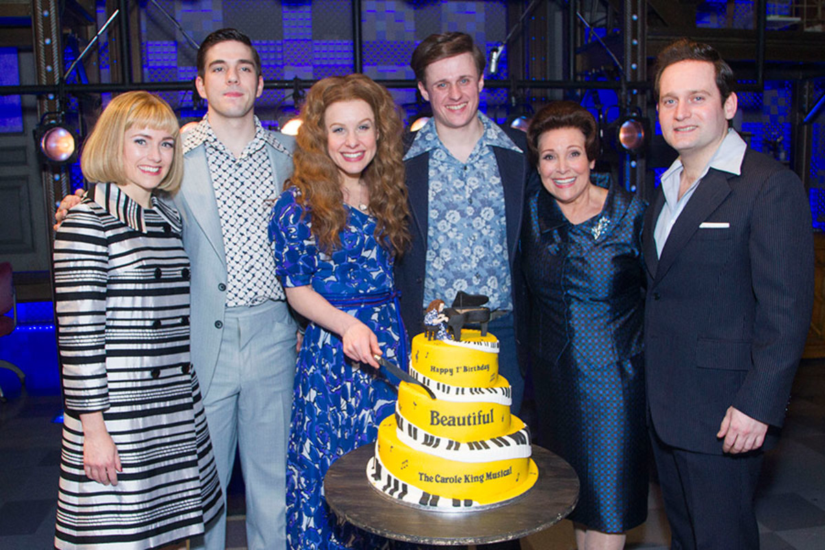 The cast of Beautiful - The Carole King Musical celebrates the show's first birthday (Photo: Dan Wooller)