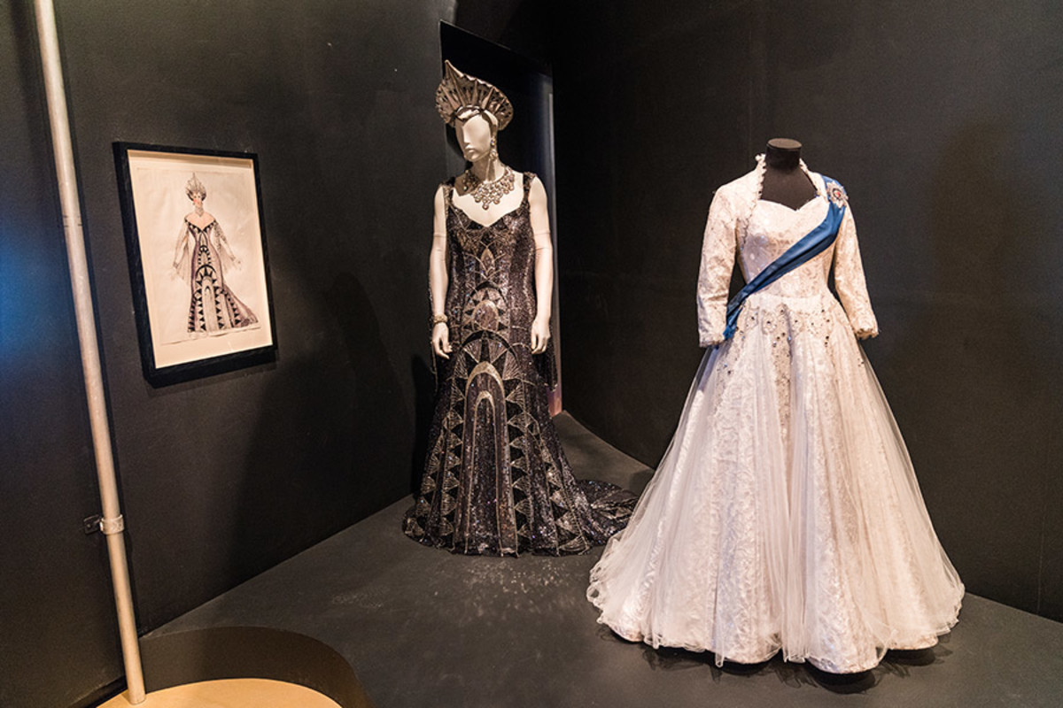 Costume & Costume Design for Gary Beach as Roger Debris in The Producers, alongside the Coronation Costume for Queen Elizabeth II in The Audience (copyright Jonathan Blanc & New York Public Library)