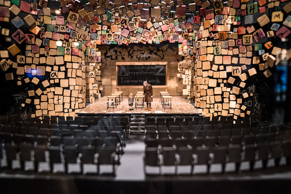 Detailed view of the set model for Matilda The Musical at the Curtain Up Exhibition (copyright Jonathan Blanc & New York Public Library)