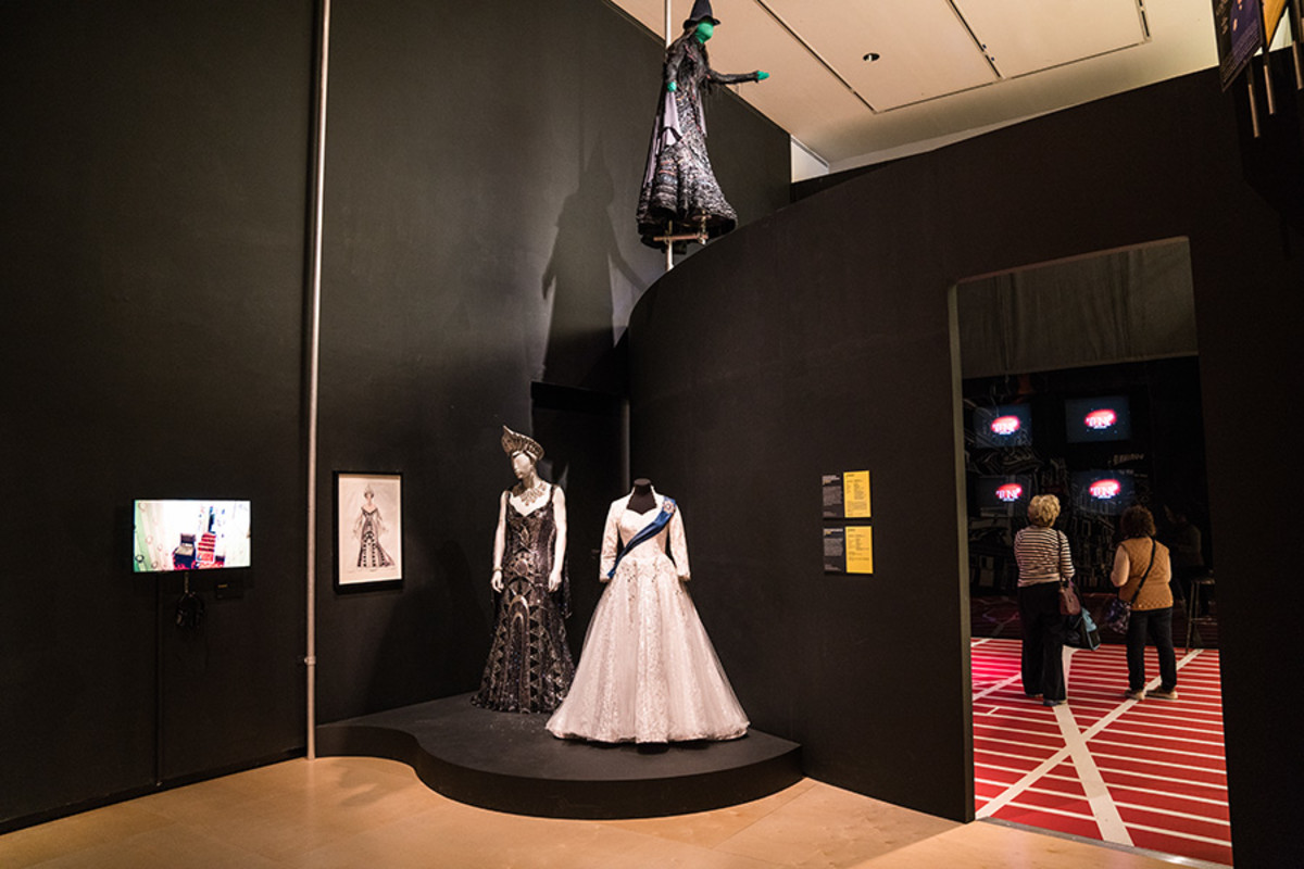 Costumes from The Producers, The Audience and Wicked all feature in the Curtain Up Exhibition (copyright Jonathan Blanc & New York Public Library)