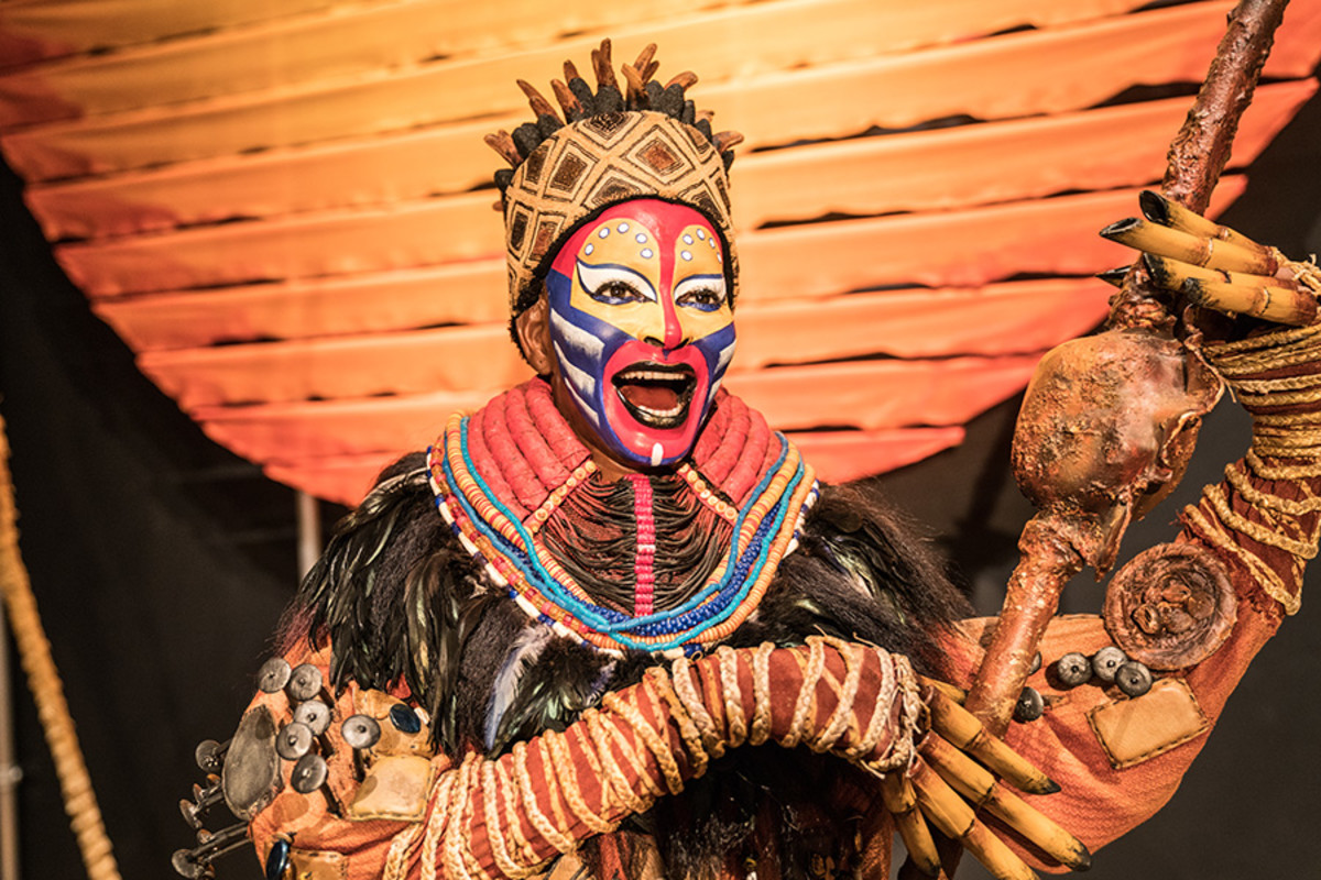 Rafiki and The Sun from The Lion King at the Curtain Up Exhibition (copyright Jonathan Blanc & New York Public Library)