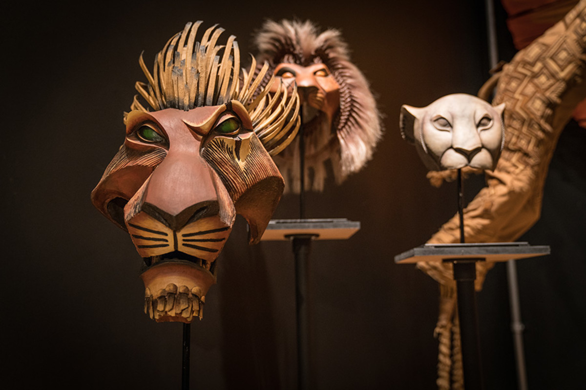 Scar, Simba and Nala masks from The Lion King at the Curtain Up Exhibition (copyright Jonathan Blanc & New York Public Library)