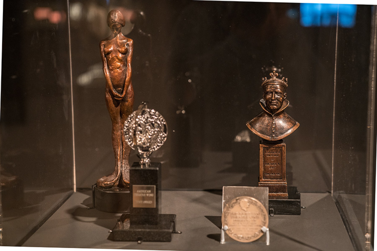 Tony and Olivier Awards past and present in the Curtain Up Exhibition (copyright Jonathan Blanc & New York Public Library)
