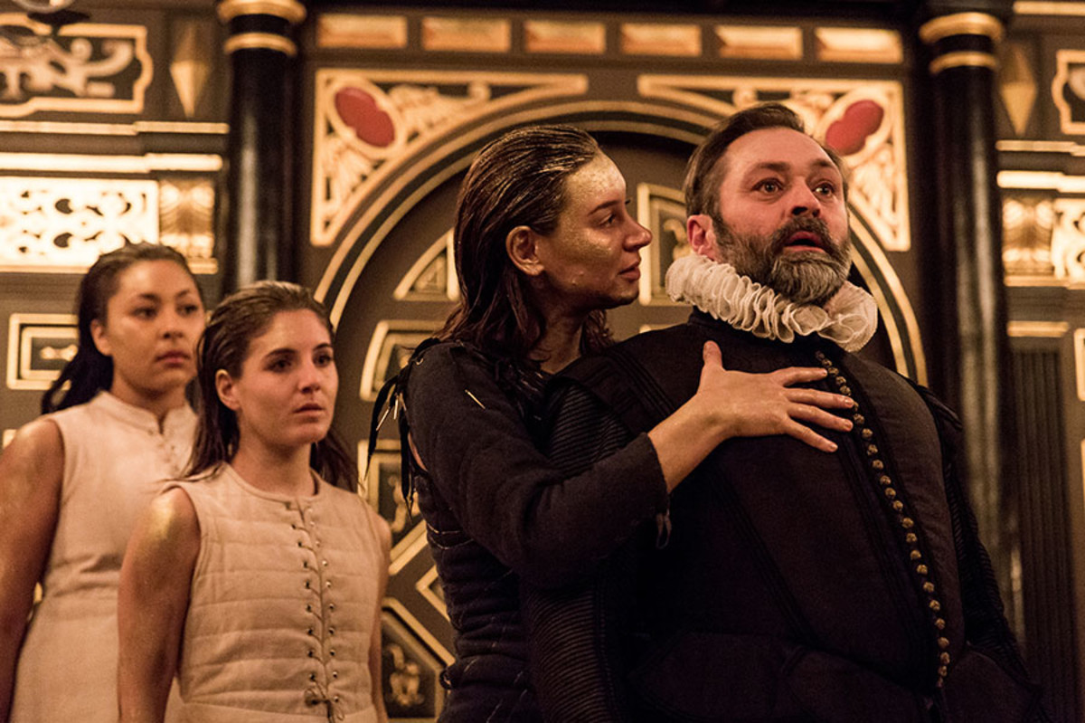 Maisey Bawden, Mary Roubos, Pippa Nixon and Paul Rider in The Tempest at the Sam Wanamaker Playhouse (Photo: Marc Brenner)