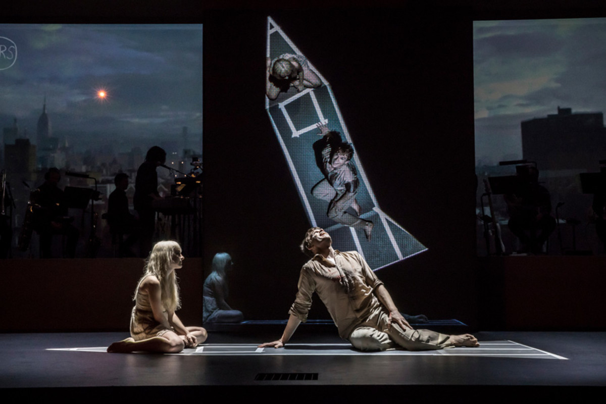 Michael C Hall (Newton), Sophia Anne Caruso (Girl) in Lazarus (Photo: Johan Persson)