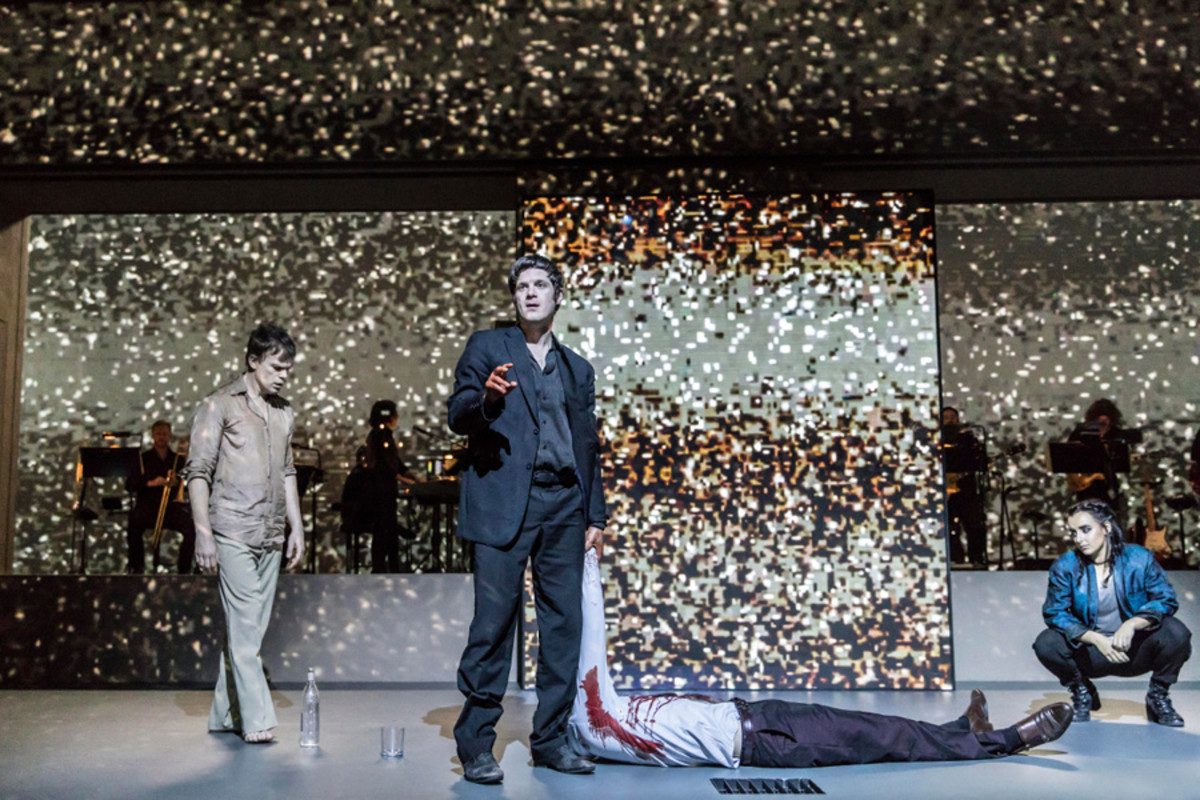 Michael C Hall (Newton), Michael Esper (Valentine), Maimuna Memon (Teenage Girl) in Lazarus (Photo: Johan Persson)