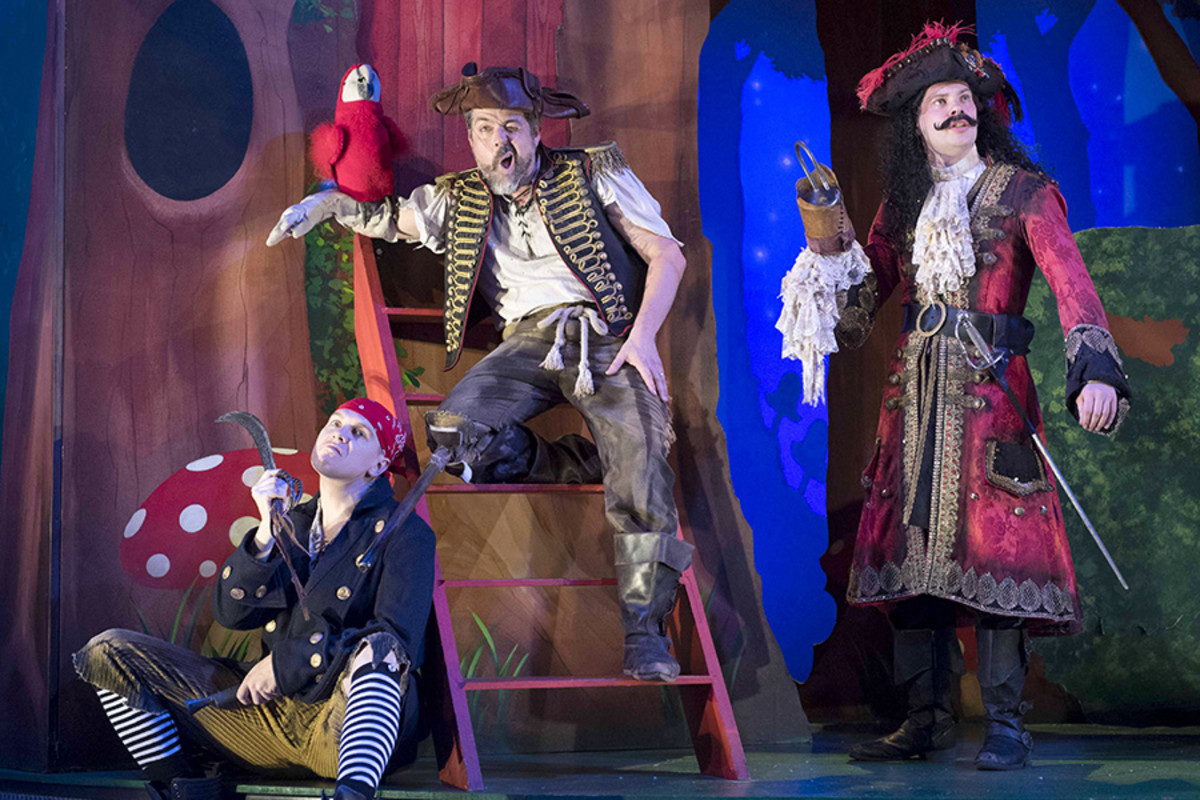 Laurence Pears, Oliver Senton and Harry Kershaw in Peter Pan Goes Wrong (Photo: Alistair Muir)