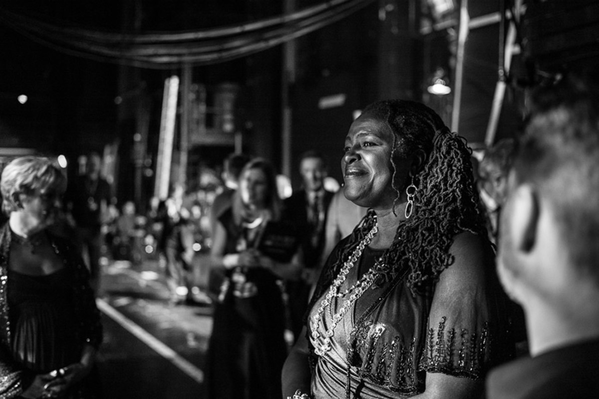 Sharon D Clarke in the wings at the Olivier Awards 2016 with MasterCard (Photo: Matt Humphrey)