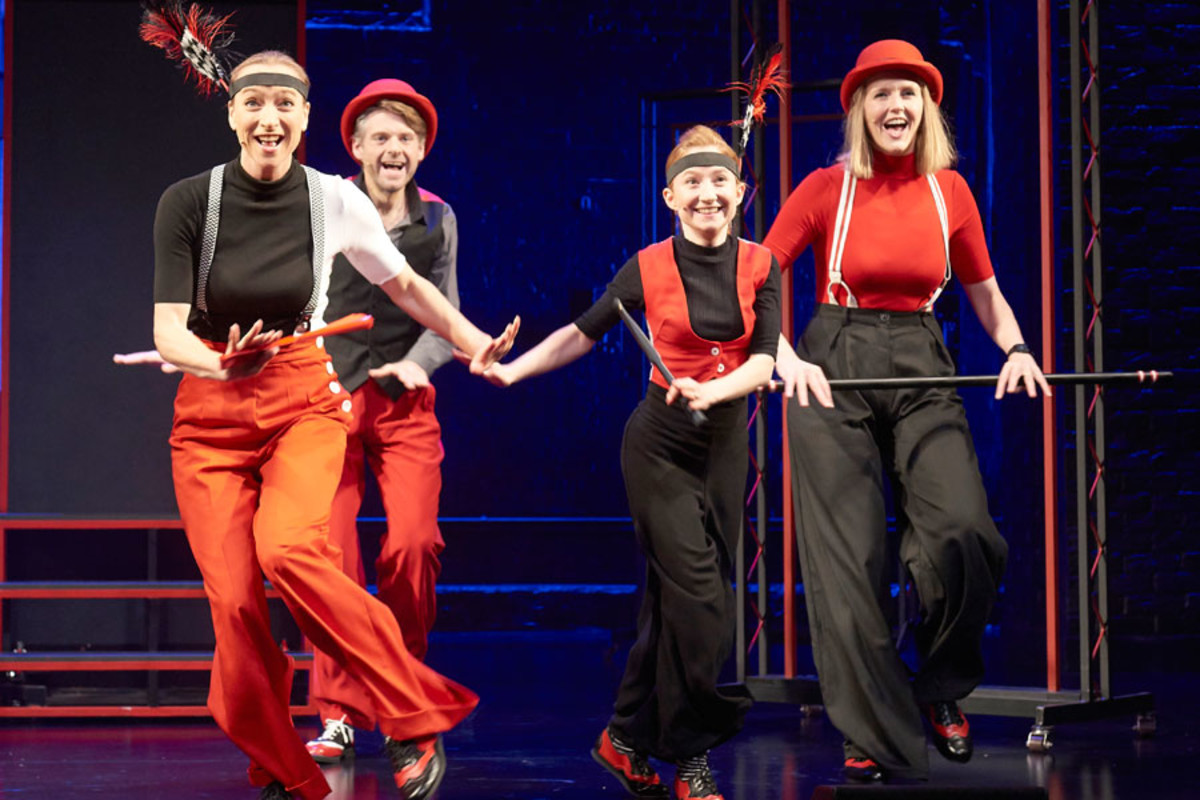 Sarah-Louise Young, Andrew Pugsley, Susan Harrison and Pippa Evans in Showstopper! The Improvised Musical (Photo: Geraint Lewis)