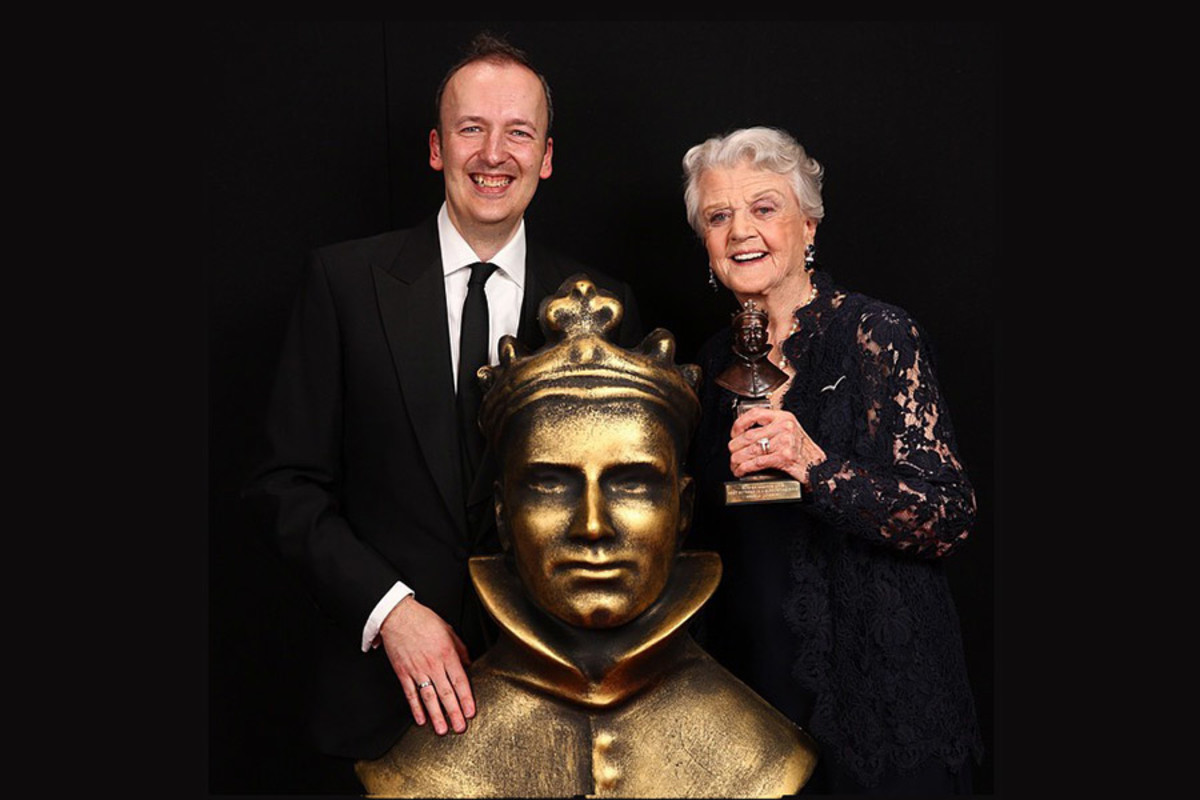 Julian Bird with Olivier Award winner Angela Lansbury at the 2015 ceremony