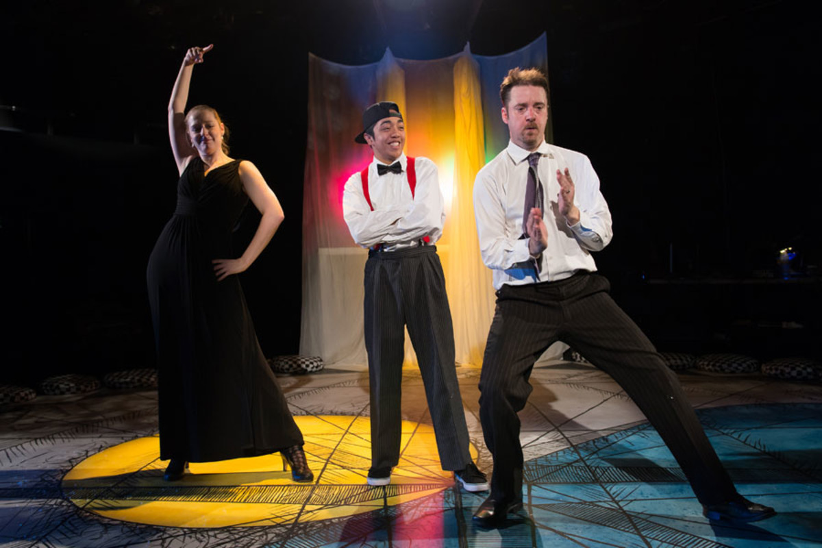 Sophie Russell, Mikey Ureta and Stephen Harper in Get Happy, Told by an Idiot (photo credit: Manuel Harlan)