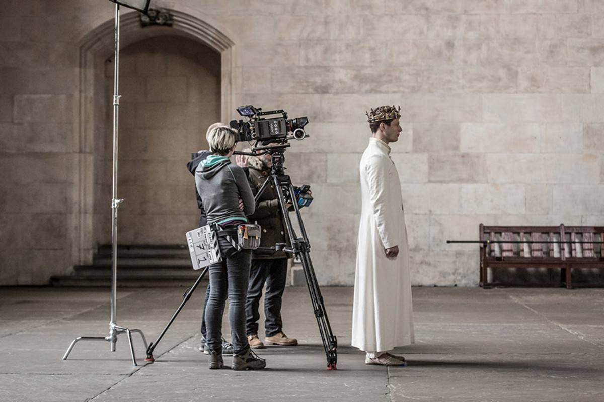 James Norton filming Richard II at Westminster Hall for The Complete Walk (Marc Brenner)