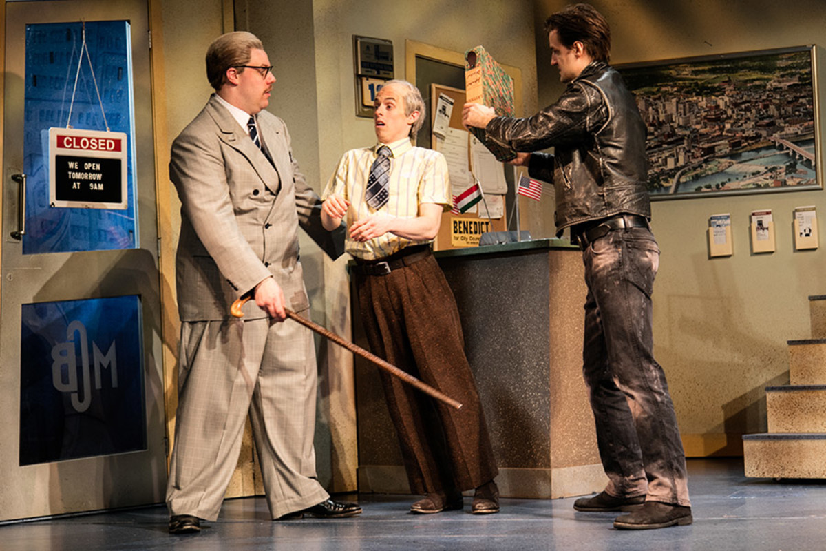 Henry Lewis, Jonathan Sayer and Henry Shields in The Comedy About A Bank Robbery (Photo: Darren Bell)