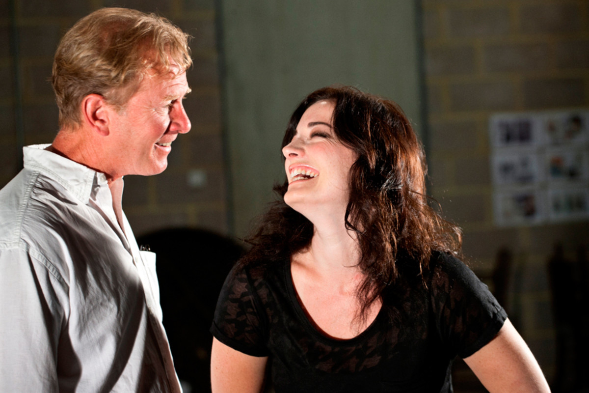 James Wilby and Laura Michelle Kelly rehearse The Second Mrs Tanqueray (photo: Simon Annand)