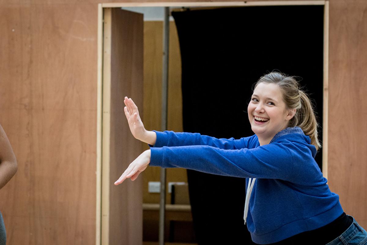 Amy Morgan in rehearsals for The Broken Heart, playing at the Sam Wanamaker Playhouse (Photo: Helena Miscioscia)