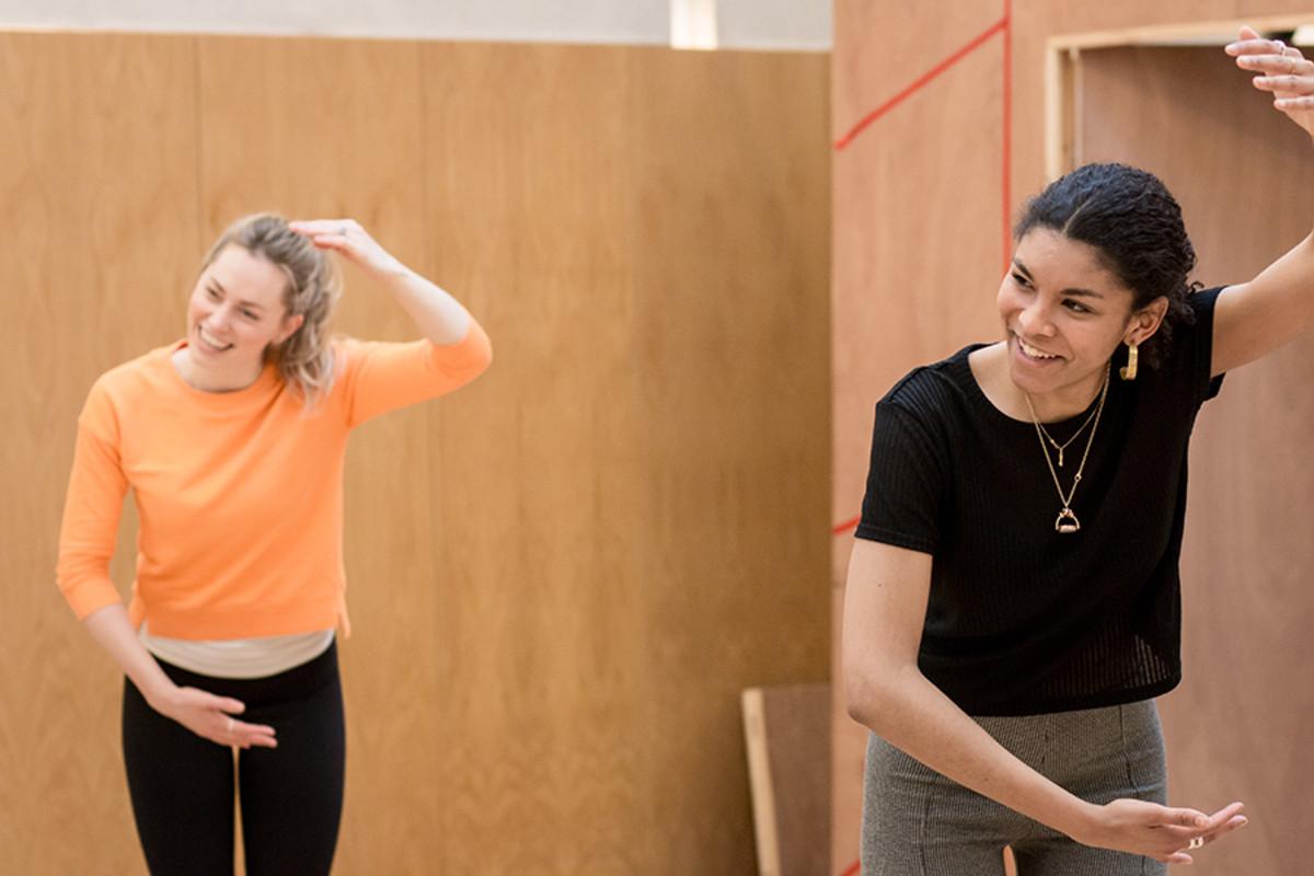 Sarah MacRae and Thalissa Teixeira in rehearsals for The Broken Heart, playing at the Sam Wanamaker Playhouse (Photo: Helena Miscioscia)