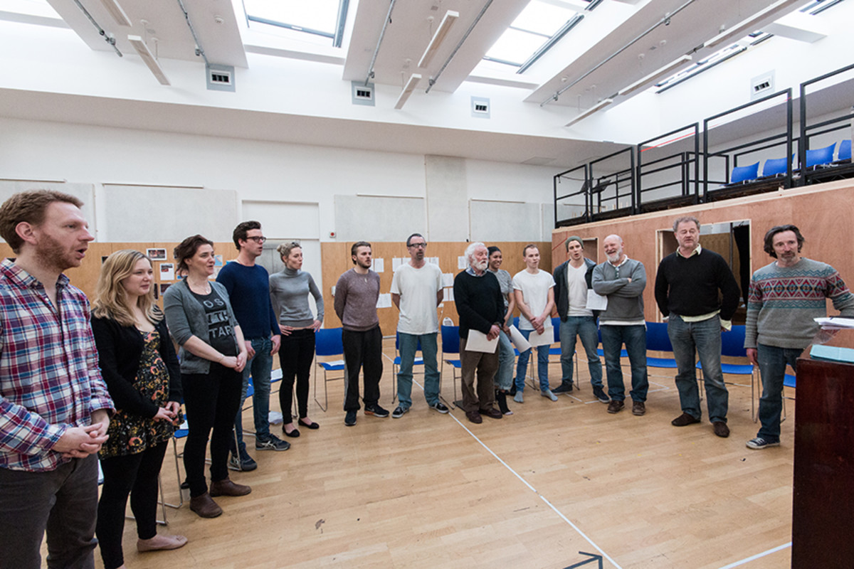 The cast in rehearsals for The Broken Heart, playing at the Sam Wanamaker Playhouse (Photo: Helena Miscioscia)