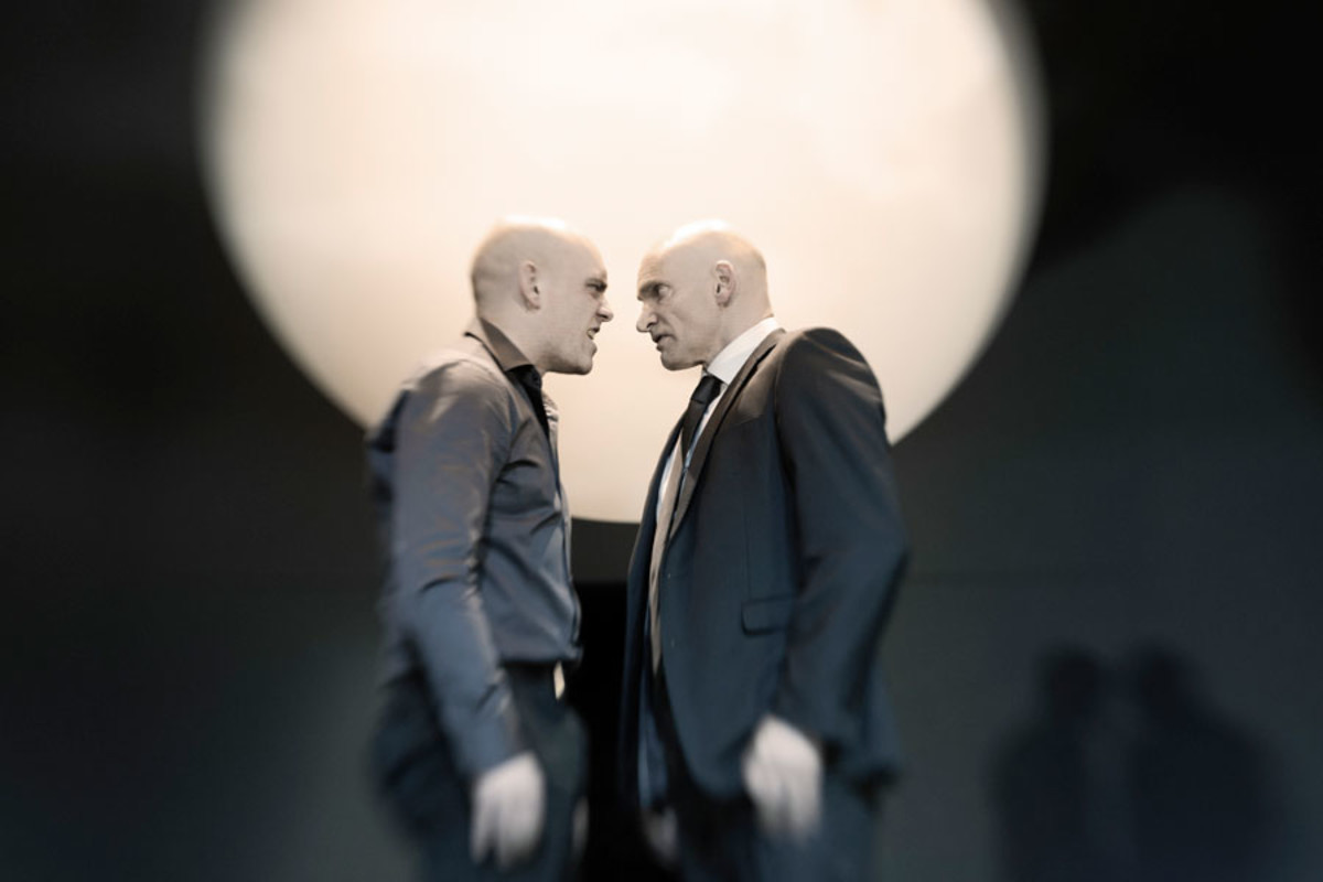 Samuel Edward-Cook and Patrick O'Kane take to the Barbican Theatre's stage in Ivo Van Hove's production of Antigone (Photo: Jan Versweyveld)