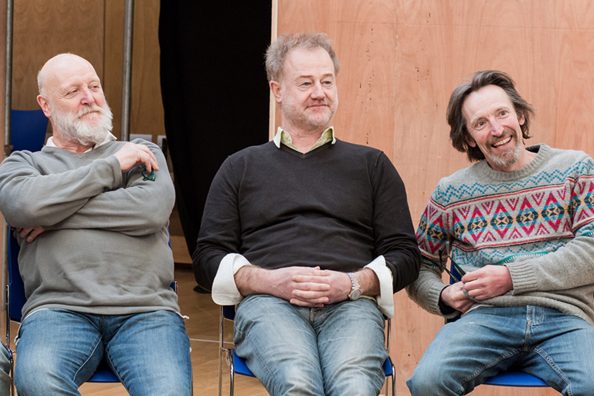 Phil Whitchurch, Owen Teale and Peter Hamilton Dyer in rehearsals for The Broken Heart, playing at the Sam Wanamaker Playhouse (Photo: Helena Miscioscia)