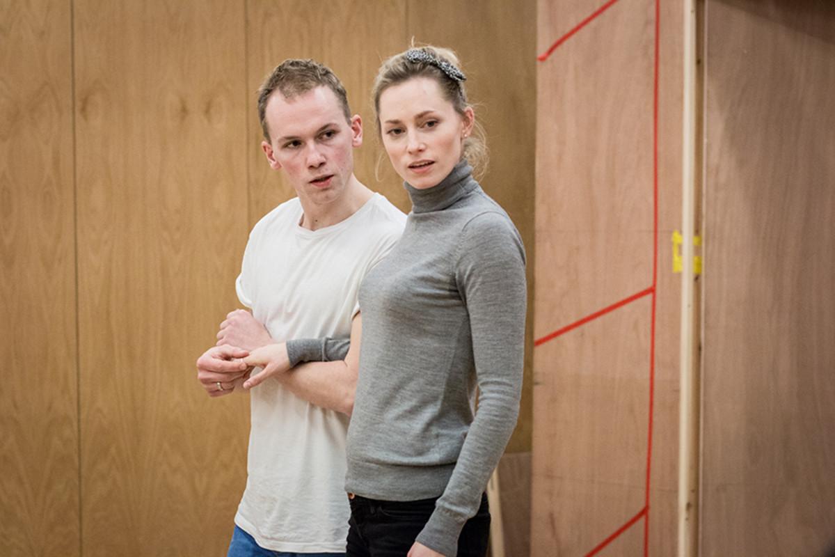 Joe Jameson and Sarah MacRae in rehearsals for The Broken Heart, playing at the Sam Wanamaker Playhouse (Photo: Helena Miscioscia)