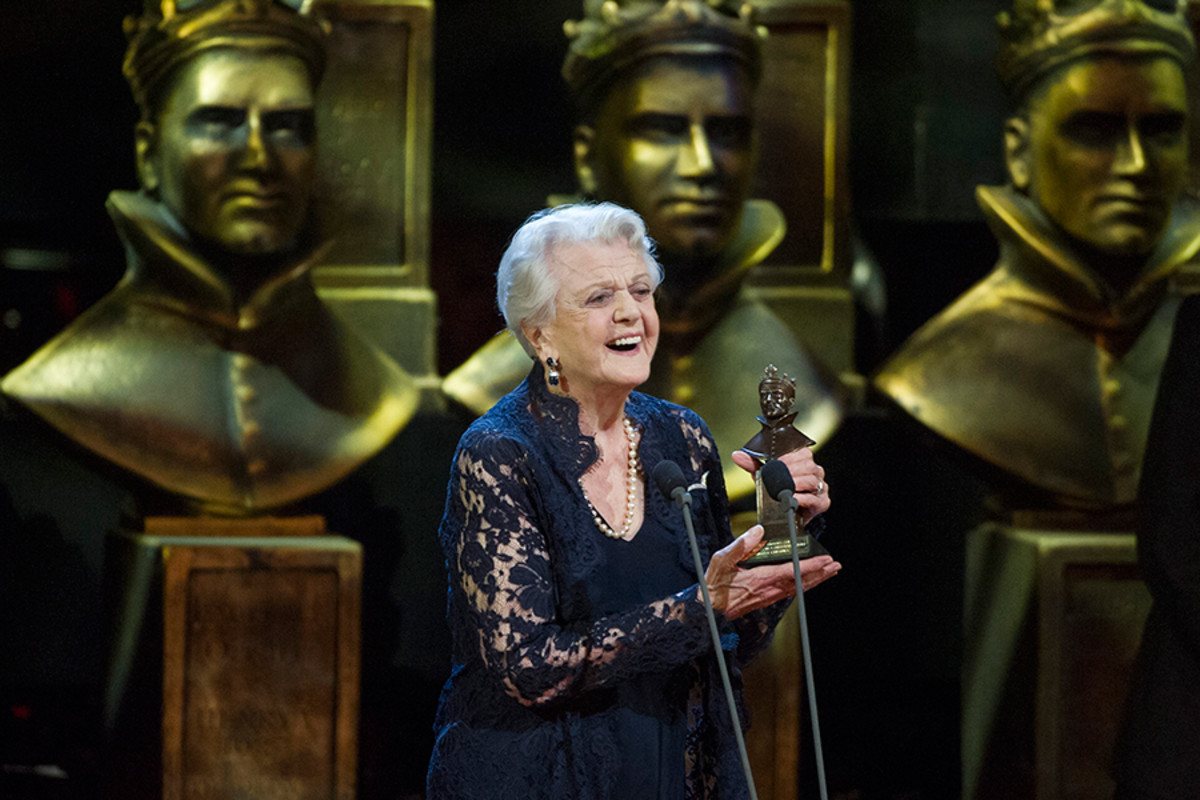Angela Lansbury collects the Best Actress in a Supporting Role Award for Blithe Spirit at the Olivier Awards 2015 with MasterCard (Photo: Alastair Muir)