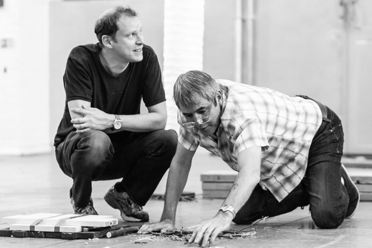 Robert Webb and Neil Morrissey in rehearsal for Neville's Island (Photo: Darren Bell)