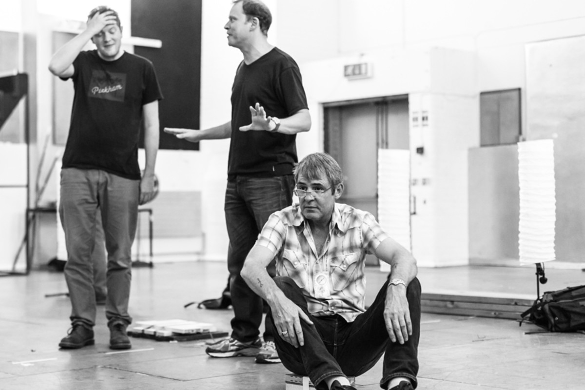Miles Jupp, Robert Webb and Neil Morrissey in rehearsal for Neville's Island (Photo: Darren Bell)
