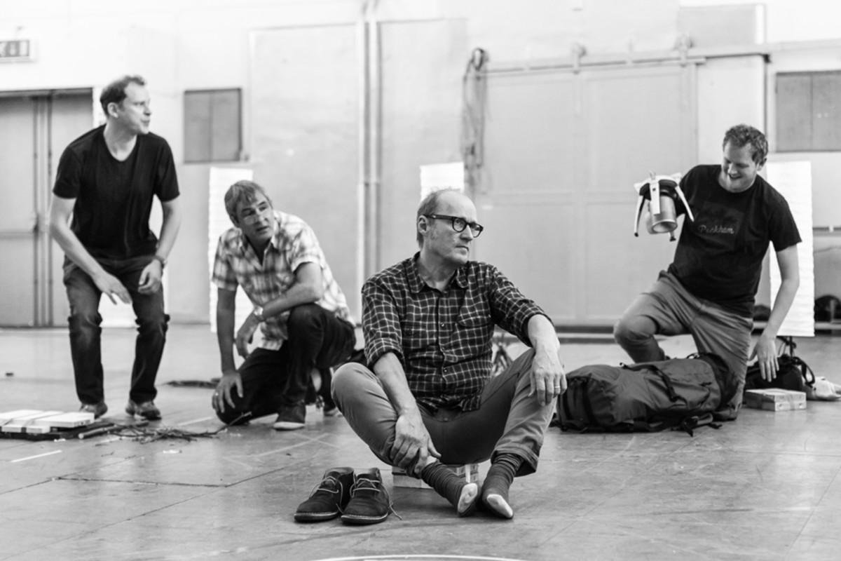 Robert Webb, Neil Morrissey, Adrian Edmondson and Miles Jupp in rehearsal for Neville's Island (Photo: Darren Bell)