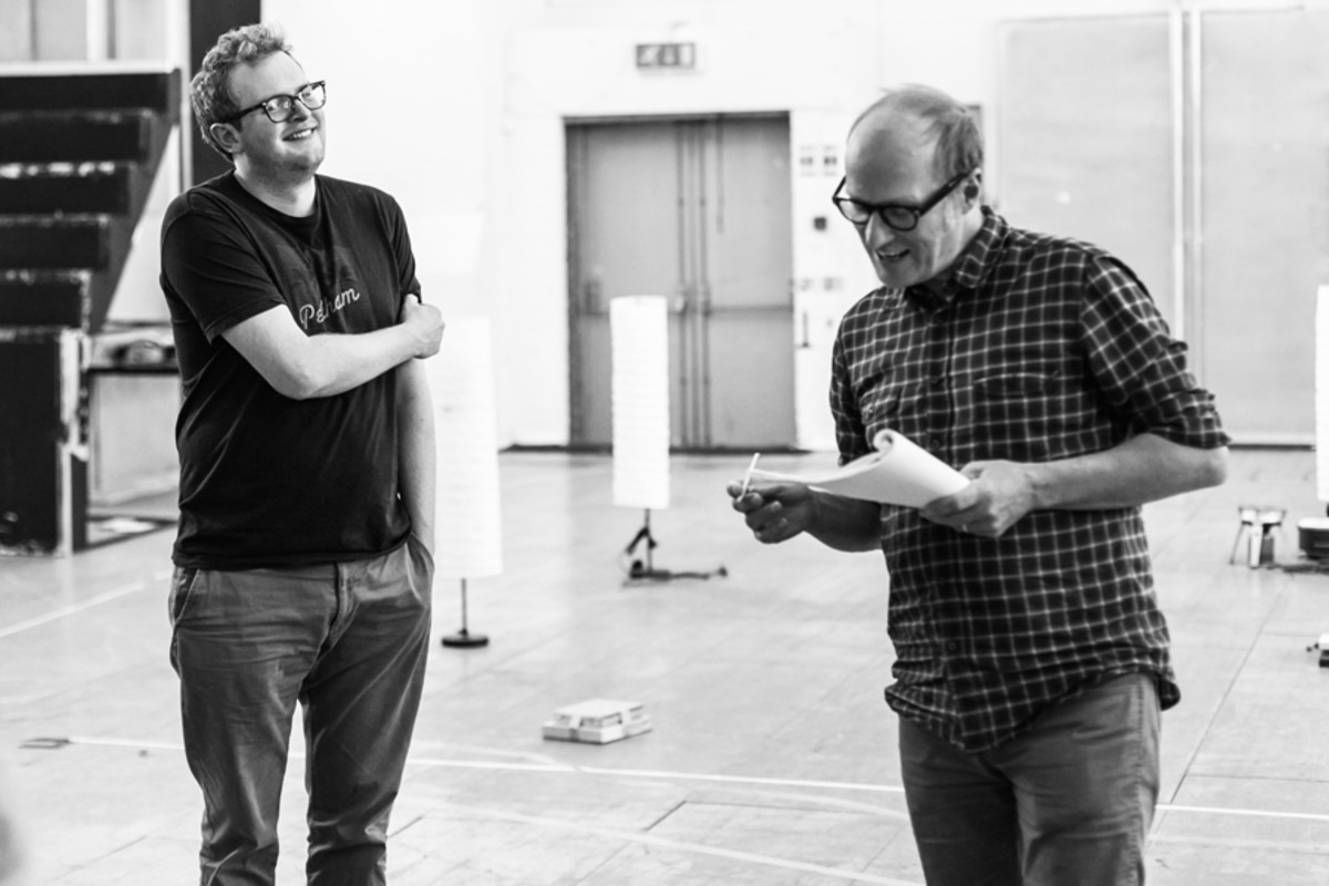 Miles Jupp and Adrian Edmondson in rehearsal for Neville's Island (Photo: Darren Bell)