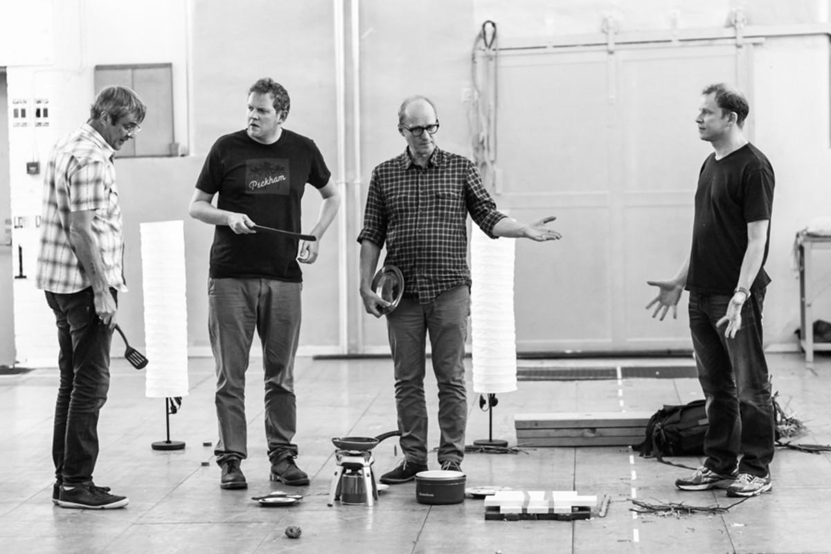 Neil Morrissey, Miles Jupp, Adrian Edmondson and Robert Webb in rehearsal for Neville's Island (Photo: Darren Bell)