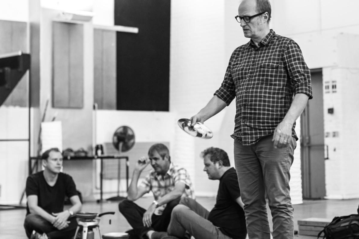 Robert Webb, Neil Morrissey, Miles Jupp and Adrian Edmondson in rehearsal for Neville's Island (Photo: Darren Bell)