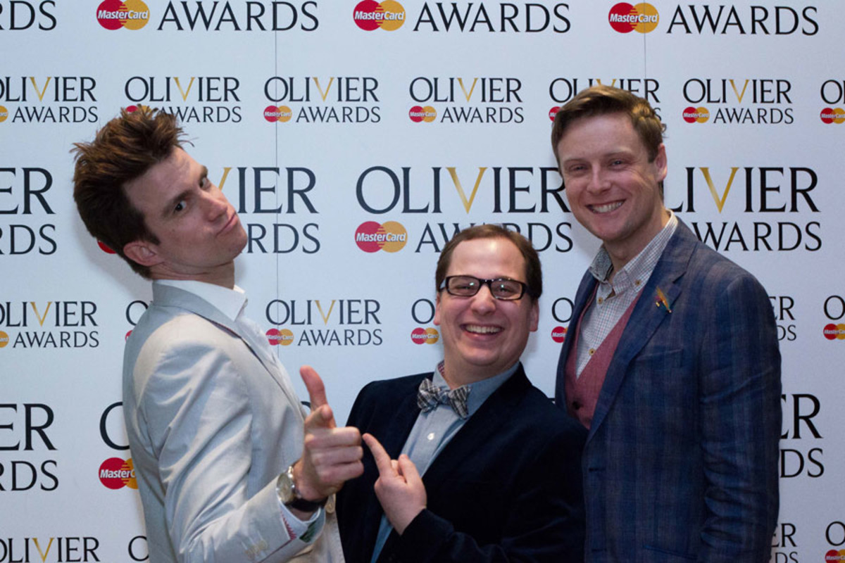 Gavin Creel, Jared Gertner and Stephen Ashfield at the Olivier Awards Nominees Lunch 2014