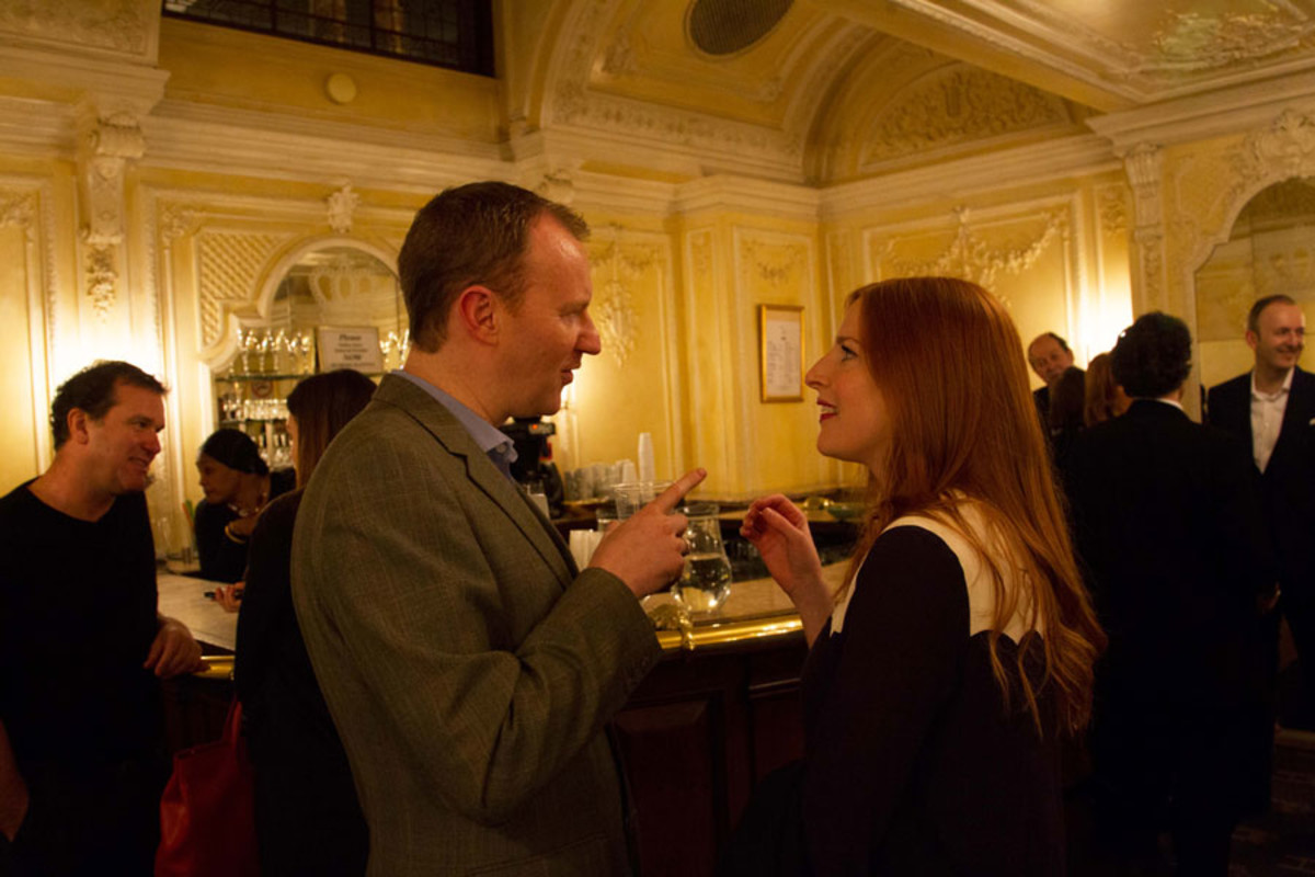 Mark Gatiss and Rosalie Craig at the Olivier Awards Nominees Lunch 2014