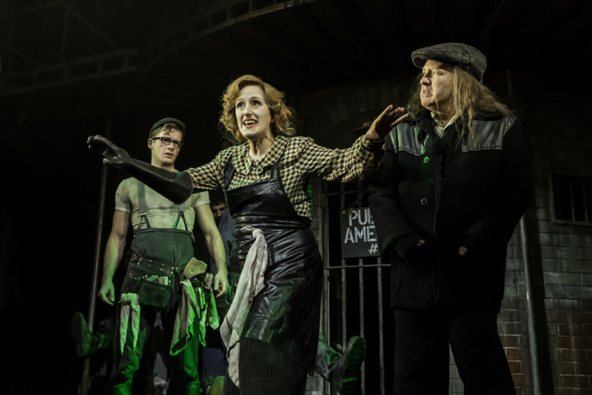 Matthew Seadon-Young, Jenna Russell and Cory English in Urinetown The Musical (Photo: Johan Persson)