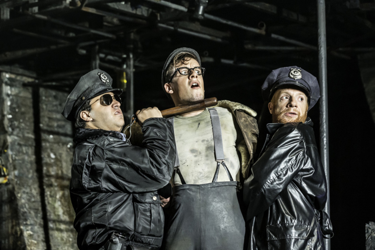 Nathan Amzi, Matthew Seadon-Young and Jonathan Slinger in Urinetown The Musical (Photo: Johan Persson)