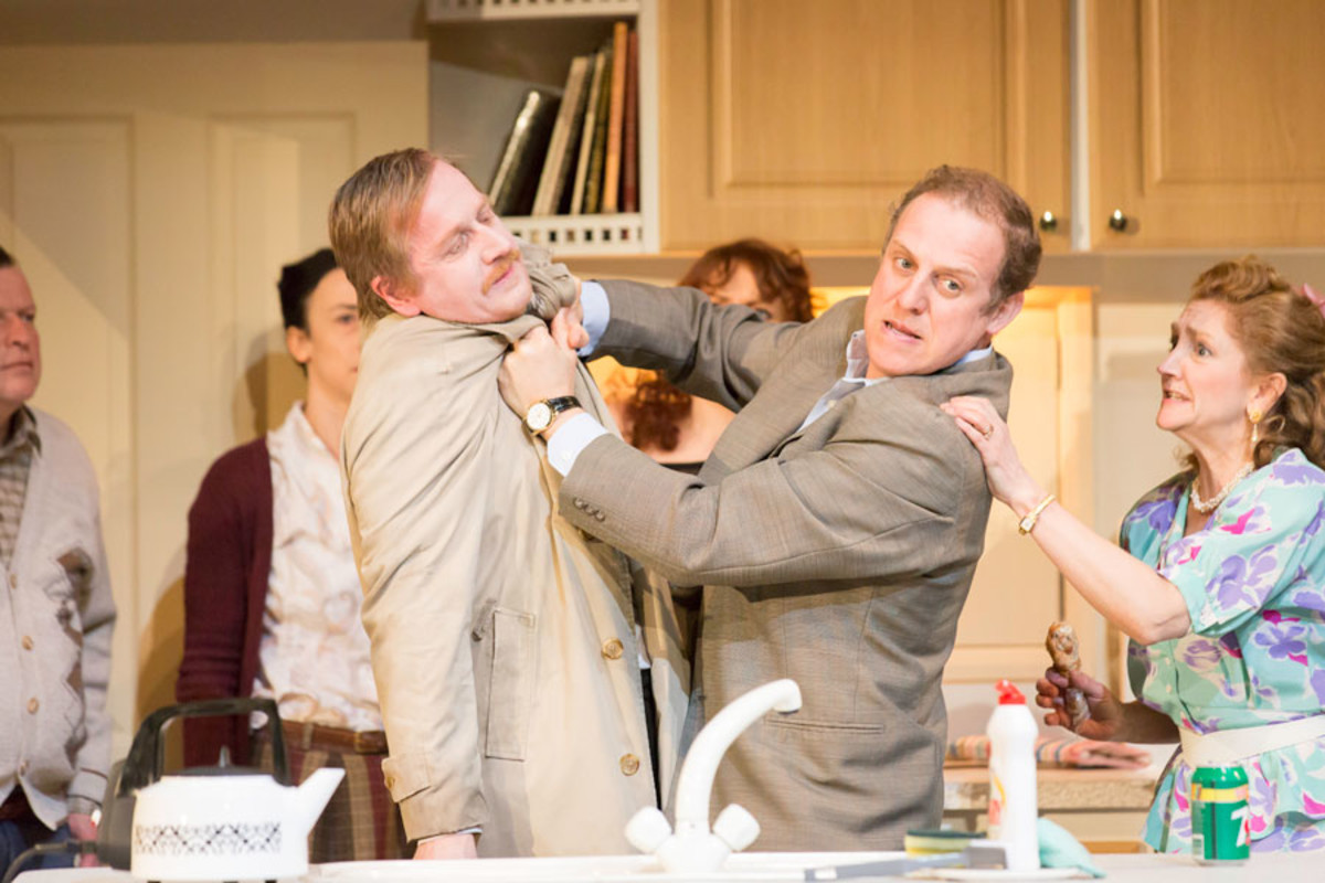 Matthew Cottle, Nigel Linday and Debra Gillett in A Small Family Business at the National Theatre (Photo: Johan Persson)