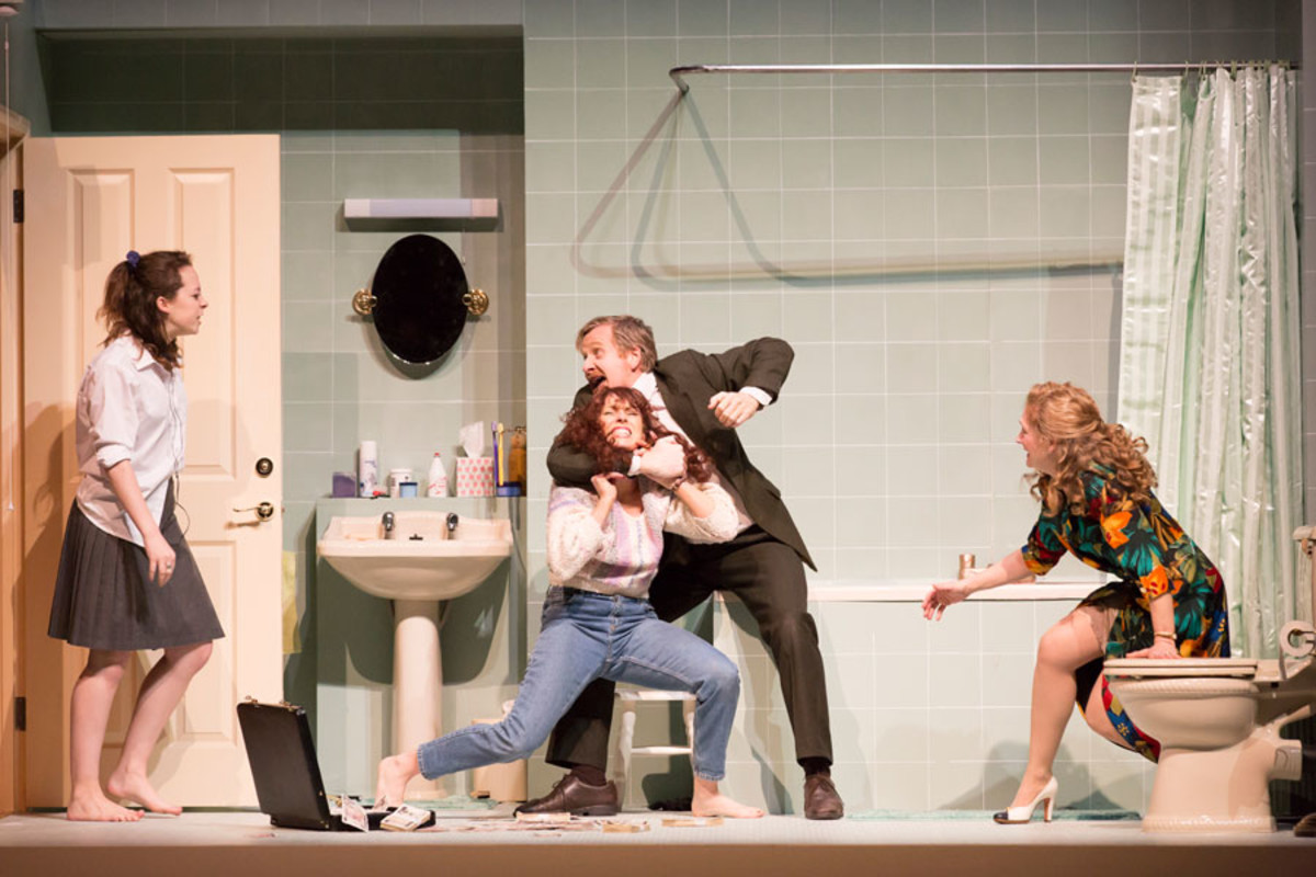 Alice Sykes, Rebecca McKinnis, Matthew Cottle and Debra Gillett in A Small Family Business at the National Theatre (Photo: Johan Persson)