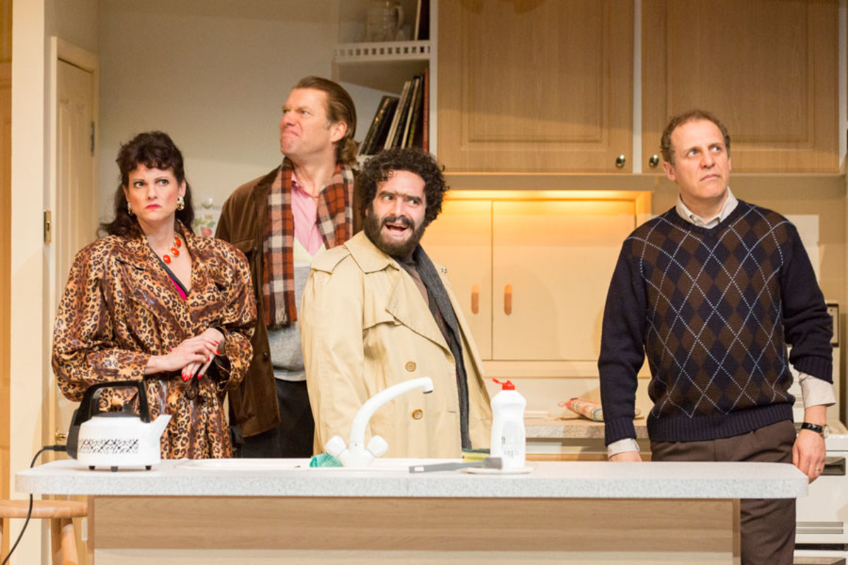 Niky Wardley, Stephen Beckett, Gerard Monaco and Nigel Lindsay in A Small Family Business at the National Theatre (Photo: Johan Persson)