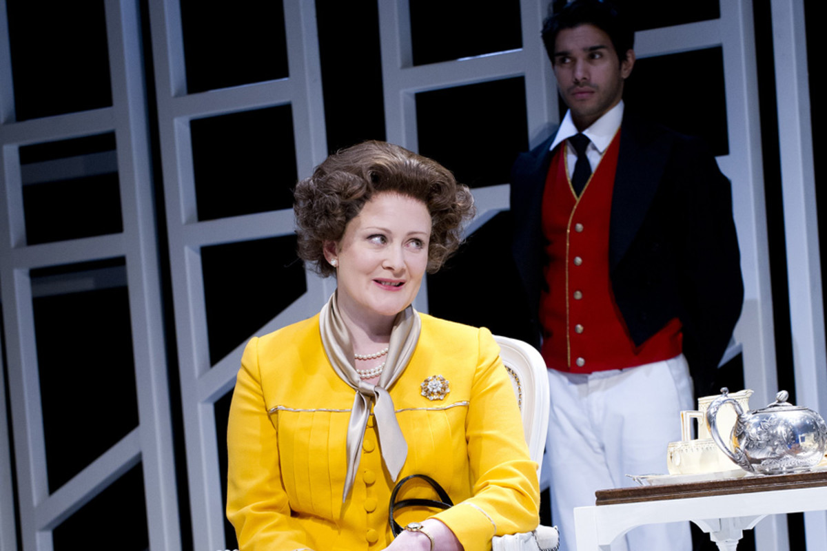 Lucy Robinson and Neet Mohan in Handbagged at the Vaudeville Theatre (Photo: Tristram Kenton)