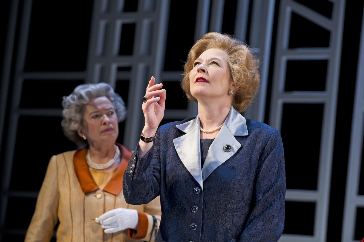 Marian Bailey and Stella Gonet in Handbagged at the Vaudeville Theatre (Photo: Tristram Kenton)