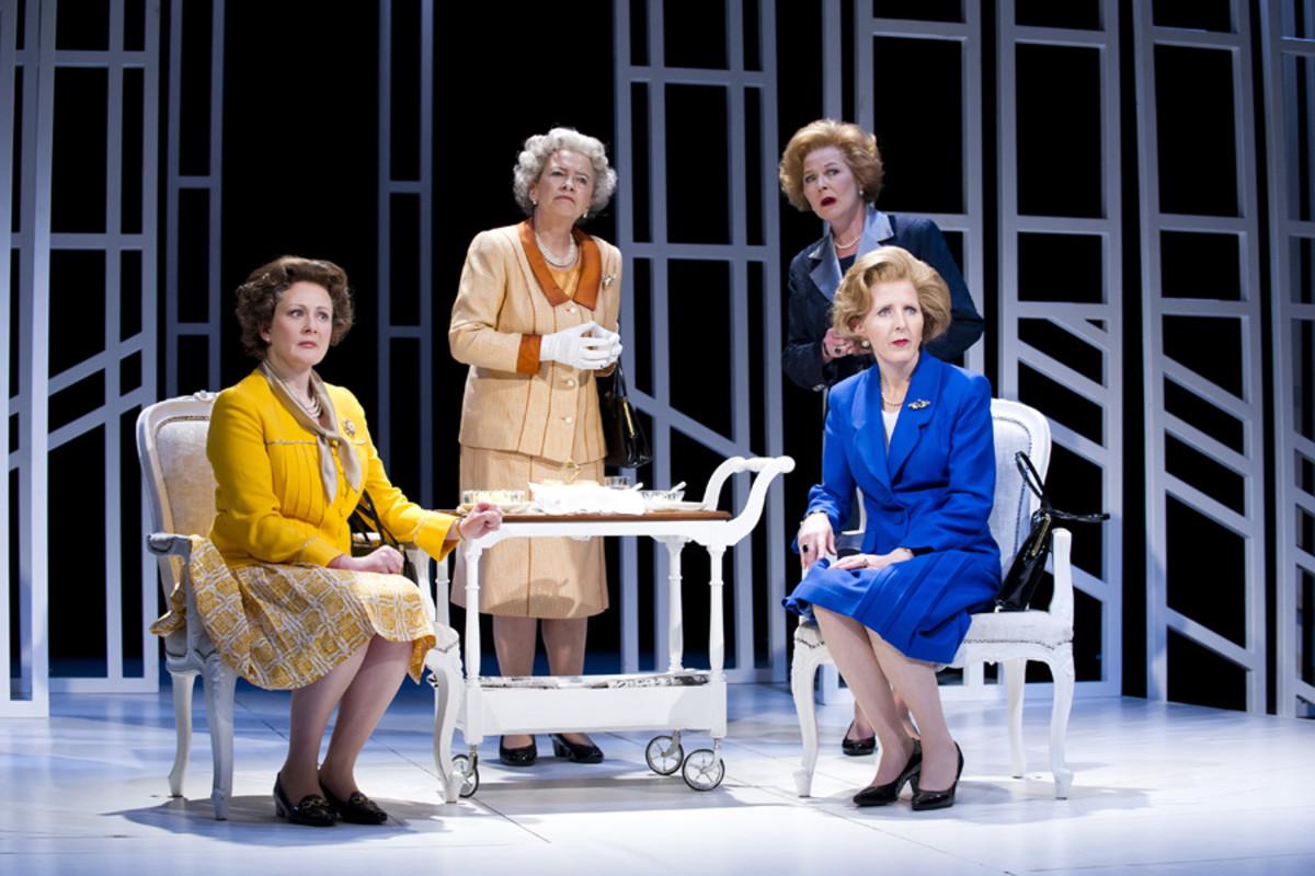 Lucy Robinson, Marian Bailey, Fenella Woolgar and Stella Gonet in Handbagged at the Vaudeville Theatre (Photo: Tristram Kenton)
